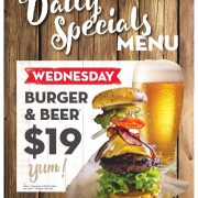 Wednesday Daily Special - $19 Burger and Beer