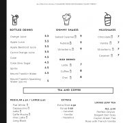Beverage Menu Non alcoholic - coffee, tea, juice, milkshakes, soft drink